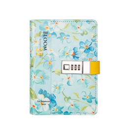 Wholesale locked diaries - A6 Colorful Flower Notwith Lock Daily Not Diary with Lock 185*130mm, 80 Sheets Paper (100g White)