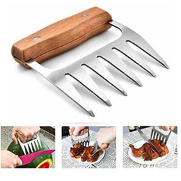 Wholesale Roasting Meats - Wooden Handle Bear Claws Barbecue Fork Tongs Pull Meat Shred Pork Clamp Roasting Fork BBQ Kitchen Tools CCA9255 50pcs