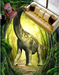 3d drawing paper Promo Codes - wall papers home decor Fantasy dinosaur 3D three-dimensional painting to draw 3d stereoscopic wallpaper
