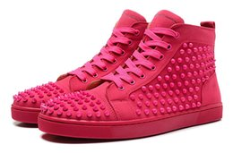 Wholesale Mens Studded Shoes - 2018 hot New Mens Designer Sneakers Flat Shoes Shiny Studded Spikes Red Bottom shoes Spikes Orlato Flat Casual Shoes with box