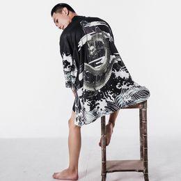 Canada 2018 été Japon Style Kimono Veste Hommes Lâches Hommes Vestes Plus La Taille 3/4 Manches Point Ouvert Manteau Décontracté Mâle Coupe-Vent supplier kimonos jacket Offre