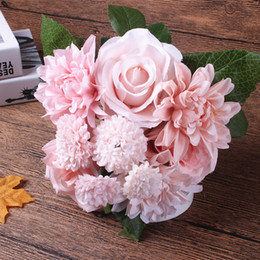 Wholesale lighted fall decorations - Silk flower wedding bouquet roses dahlias Artificial flowers fall vivid fake leaf wedding flower bridal bouquets decoration