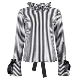 Wholesale Womens Sexy Backless Shirts - DERUILADY Long Sleeve Womens Tops And Blouses Fashion Casual Striped Blouse Sexy Backless Lace Up Women Shirts Loose Clothes