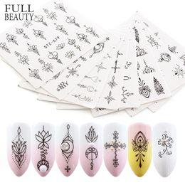 viti nere Sconti 8 pz Nail Decalcomanie Black Lace Trasferimento Acqua Sticker Bellezza Fiori Vine Wraps Design Nail Art Decor Cursore Manicure CHSTZ675-682