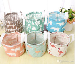 Wholesale Cotton Storage Basket - 6 Styles Round Flamingo Cotton Linen Desktop Storage Box Sundries Storage Organizer Stationery Cosmetic Storage Basket 1000pcs