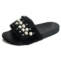 ae6e45546f24 Spring Summer Slippers Women Floor Soft Plush Female Cute Pearl Slipper Flat  with Shoes Comfortable Home Fur Slippers Woman Sandals