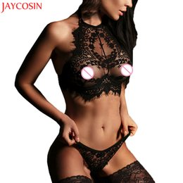 cinghia panty gratuita Sconti JAYCOIN 2017 Moda Donna Sexy Lingerie Fiori di Pizzo Push Up Top Reggiseno Pantaloni Intimo Set Oct2730