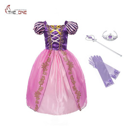 Wholesale belle party - MUABABY Girls Rapunzel Dress Children Summer Princess Cosplay Costume Snow White Cinderella Belle Tangled Halloween Party Dress