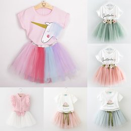 Wholesale kids suits wholesale - Baby girls lace skirts outfits girls Letter print top+flower tutu skirts 2pcs set summer Baby suit Boutique kids Clothing Sets 7styles C3863