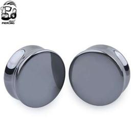 Wholesale body jewelry expander - A Pair Ear Expander Body Piercing Hematite Tunnels Jewelry Organic Flesh Tunnels Stone Ear Plugs Ear Gauges