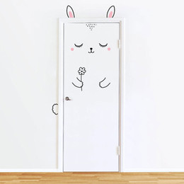 Wholesale Wall Decals Baby Girl - Sleepy Bunny Door Decal Wall Stickers For Kids Girl , Cat Door Wall Sticker For Baby Girl Bedroom Door or Wardrobe Cute Decor