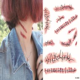 feridas falsas Desconto Halloween Zombie Scars Tatuagens Falso Scab Bloody Maquiagem festa de Halloween Decoração Horror Wound Assustador Ferimento De Sangue Adesivo