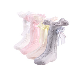 Wholesale Bebe Lace - Baby Girl Clothes Bebe Cotton Lace Socks Knee-length Stretchy Warmer Socks Princess Bowknot Socks 2018 Spring Baby Clothes