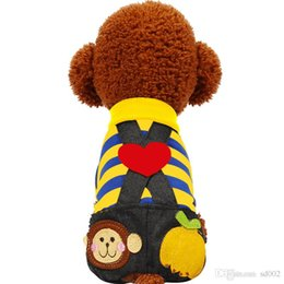 black poodle dogs Promo Codes - Cute Dog Clothes Spring Summer Poodle Breathable Dogs Cats Striped Black Pant Jumpsuit Rompers Pet Clothing Many Colors 16jq ZZ