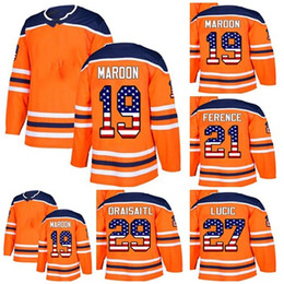 Wholesale Cheap Usa Flags - Cheap Custom Mens Momens Kids Edmonton Oilers 19 Patrick Maroon 21 Andrew Ference 27 Milan Lucic 29 Draisaitl USA Flag Ice Hockey Jerseys