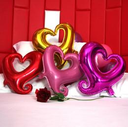 Wholesale Heart Shape Balloon Decoration - Love Heart Shape Airballoon Hollowed Out Design Aluminum Foil Balloon Self Sealing Air Balloons Top Quality 0 59tq B