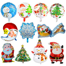 Wholesale christmas snowman inflatables - Merry Christmas 18inch Balloons inflatable Latex Xmas Tree Snowman helium foil Ballons party Decorate Unicorn Palloncini Wedding birthday