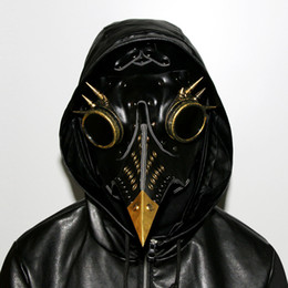 Wholesale real props - Steampunk Gothic Retro Plague Beak Plague Doctor Bird Mask Halloween Christmas Costume Props Real PU Free Shipping G218S