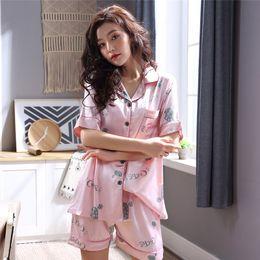 2734a85fa0 Imitation Silk Summer Women Causal Loose Pajamas Short Sleeve V Collar  Cardigan Nightwear Suit Elastic Shorts Print Pajama Set