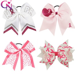 """Wholesale girl breasts - 6"""" Handmade Breast Cancer Awareness Printed Hair Bows with Ponytail Holder Girls Headwear Cheer bow Hair Accessories"""