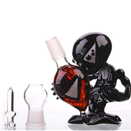 Wholesale alien fashion - Fashion Beaker Alien Glass Bong With Red Diamond Two Function Dab Rigs Water Pipe Match Dome and Nail Bubbler Recycler Glass Water Pipes