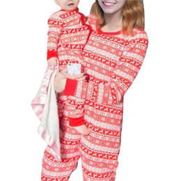 New 2019 Deer Print Mother Father   Kids Family Sleepwears Parent-child  Outfit Red Christmas Pajamas Suit 9fc1790b1