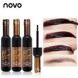 Wholesale Eye Brow Dye - Wholesale-NOVO Eye Makeup Red Wine Peel Off Eye Brow Tattoo Tint Waterproof Long-lasting Dye Eyebrow Gel Cream Mascara Make Up Cosmetics