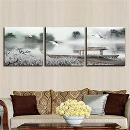 Wholesale Chinese Art Canvas - Canvas painting Chinese painting for living room wall home bedroom decoration 3 piece canvas wall art stickers decor