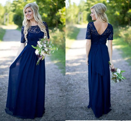 Wholesale Sequins Gold Dress Stock - Boho Lace Cheap Bridesmaid Prom Dress Navy Blue Backless Jewel Neck Illusion Short Sleeves Chiffon Empire Long Wedding Party Guest Evening