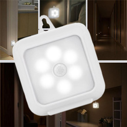 Wholesale battery home power - Motion Sensor LED Night Lights Battery Powered Indoor Step Lighting Safety Light for Home Stair Wall Cabinet Bathroom Hallway