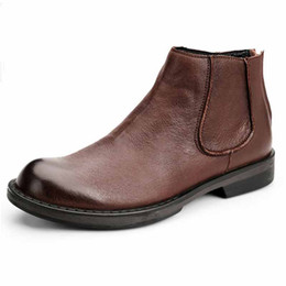 137634d24440 automne hiver hommes en cuir véritable bottes chelsea tendance bottes  courtes britannique rétro grande taille bottes hommes en peau de vache tout- match ...