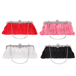 Borse da sposa ragazza online-Fashion Lady Party Wedding Borsa Borsa Girl Soft Evening Bag Elegent Bridal Women Satin Crystal Clutch Chain Shoulder Bag