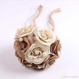 Bouquet de mariage rustique toile de jute Bouquet de fleurs dentelle et perles mariage anniversaire fiançailles décoration, cadeau de Saint-Valentin ? partir de fabricateur
