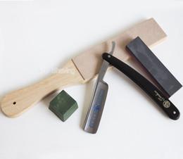 Facas de barbeiro on-line-Barbeiro de Barbear Em Linha Reta Lâmina de Aço Faca de Afiar Placa De Couro De Cera Pedra Set Ferramenta de Higiene