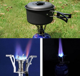 Argentina Envío gratis al aire libre Picnic BBQ Quemador Estufa Estufas de gas para acampar Portátil Plegable Mini quemador de encendido electrónico con caja 60Pcs Suministro