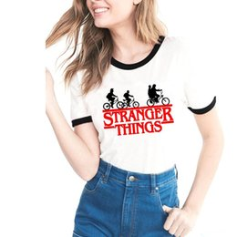 T-shirt imprimé femme en Ligne-Des choses étranges T shirt 2018 D'été Nouvelles Femmes De Bande Dessinée Impression T-shirt À Manches Courtes Tops Tee