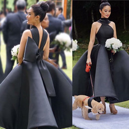 Wholesale Cheap Big Bows - Unique Design Black Bridesmaid Dresses 2018 High Neck Big Bow Puffy Ankle Length Satin Wedding Guest Gowns Maid Of Honor Dress Cheap Custom