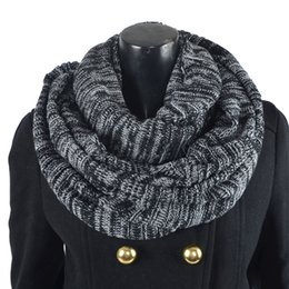 Wholesale Infinity Scarf Soft - HISSHE Retro Mens Winter Infinity Scarf Classic Knit Striped Warp Muffler Men Women Soft Thick Warm Neckerchief