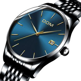 Wholesale Dom Watches - Watch Men DOM Top Brand Luxury Quartz watch Casual quartz-watch stainless steel Mesh strap ultra thin clock male Relog M-11BK-1M