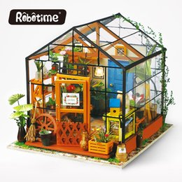 Wholesale house home toys - Robotime 3D Wooden Puzzle DIY Handmade Furniture Miniature Dollhouse Building Model Home Decoration Green House Toys