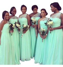 Wholesale stocked one shoulder bridesmaid dresses - Mint One shoulder Bridesmaid Dresses 2018 Cheap Chiffon PLeated For Black Women Long Prom Evening Formal Dress Backless Beach Summer Style