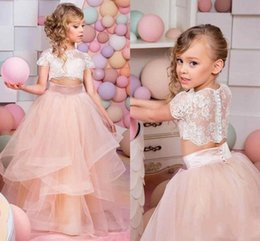 Wholesale Two Piece Dresses For Weddings - 2018 Two Pieces Flower Girl Dresses A Line Jewel Short Sleeve Floor Length Girls Pageant Dresses With Lace Tiered Tulle For Wedding Party