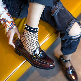 Сексуальные носки сетчатки носки онлайн-1Pair Women Sexy Pearl Beads Lace Fishnet Ankle High Mesh Fish Net Short Ankle Socks