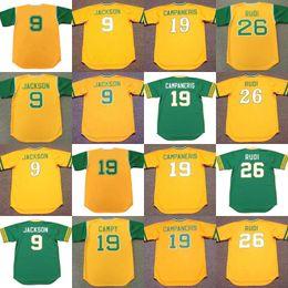 Wholesale Oakland Baseball Jersey - men youth 9 REGGIE JACKSON 34 ROLLIE FINGERS 19 BERT CAMPANERIS 26 JOE RUDI Oakland 1968 Cooperstown Throwback Jersey
