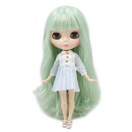 green day dolls Promo Codes - WHITE skin tone Blyth nude doll light mint green hair JOINT Azone body 1 6 30cm 280BL4278 fortune days toy