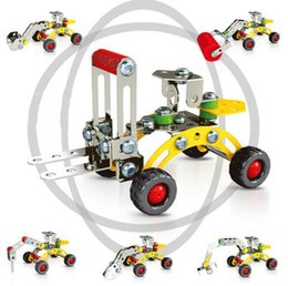 construction sets toys Promo Codes - 3D Assembly Metal Engineering Vehicles Model Kits Toy Car Excavator Bulldozer Roller Breaker Forklift Building Puzzles Construction Play Set