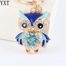 Blue Owl Bird Crystal Charm Purse Handbag Car Key Ring Chain Party Wedding Birthday Creative Gift от