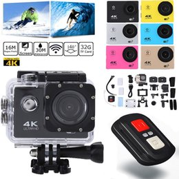 Wholesale Hd Professional Camcorder Wholesale - Action Camera 4K 30Fps Sports Cam 16MP Action Cam HD WiFi Waterproof Camcorder with 170°Wide Angle Lens 2 Rechargeable Batteries Remote Cont