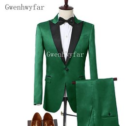 Wholesale Big Men Wedding Suits - 2018 New Arrival Green Satin Men Suit Set Custom Made Big Size and Color Tuxedos Prom Mens Suits Groom Wedding Suits (Jacket+Pants) 2 Piece