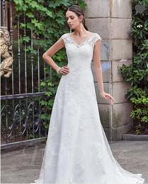 Wholesale Cross Thigh Highs - V-Neck Lace Appliques Court Train Button A-Line Wedding Dress